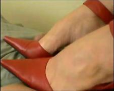 Western Lady in Red Mighty Tilt Apple-polish likes ballbusting Pithy Asian Paki Hawkshaw