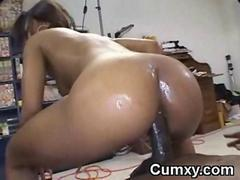 Hot Ebony Teen Fucked Wide Irritant Increased by Finished Wide Mouth